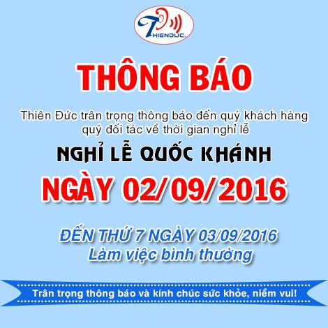 Thông báo nghỉ lễ 02-09-2016 Thiên Đức